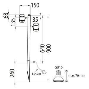 Pylväsvalaisin LUMIA AVN01GH IP44 2X50W GU10 G C GH