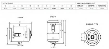 Lämminvesivaraaja ELCO Titan 120 l vaakamalli (saunamalli)