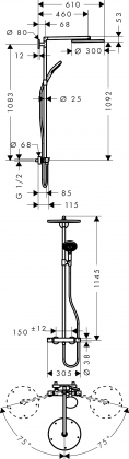Suihkusetti Hansgrohe Raindance Select 300 Showerpipe