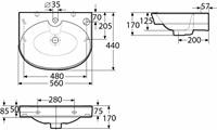 Pesuallas IDO Glow 12164(560mm) ei ylivuotosuojaa