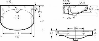 Pesuallas Ido Glow 11166 (600mm) pyöreä
