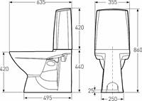 WC-istuin Ido Glow60, malli ilman istuinkantta, kaksitoiminen huuhtelu
