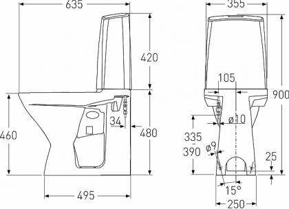 Korkea Ido wc-istuin Sensor-toiminnolla 230V piilo S-lukko
