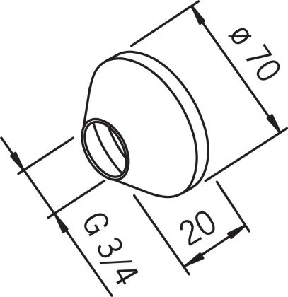 PEITELAIPPA ORAS 3/4-70 MM KORK. 20 MM 207143