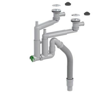 Keittiövesilukko Prevex Smartlock 2-altainen 70 mm sihti ja tulppa