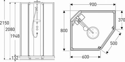 Suihkukaappi IDO Showerama 10-5 900x800  viisikulmainen valk.