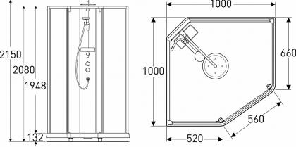 Suihkukaappi IDO Showerama 10-5 1000x1000  viisikulmainen valk.