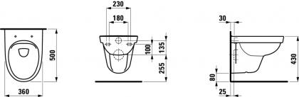 Seinä wc-istuin Laufen Kompas 825158 rimless, ilman istuinkantta