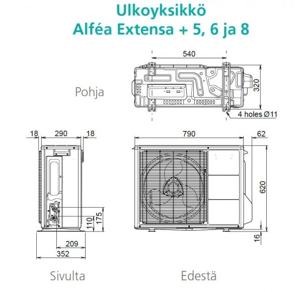 Ilmavesilämpöpumppu Atlantic Alfea Extensa DUO A.I. 5 sisä-ja ulkoyksikkö