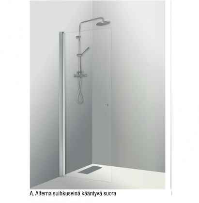 Shower panel A, movable, straight, clear 195 cm ht