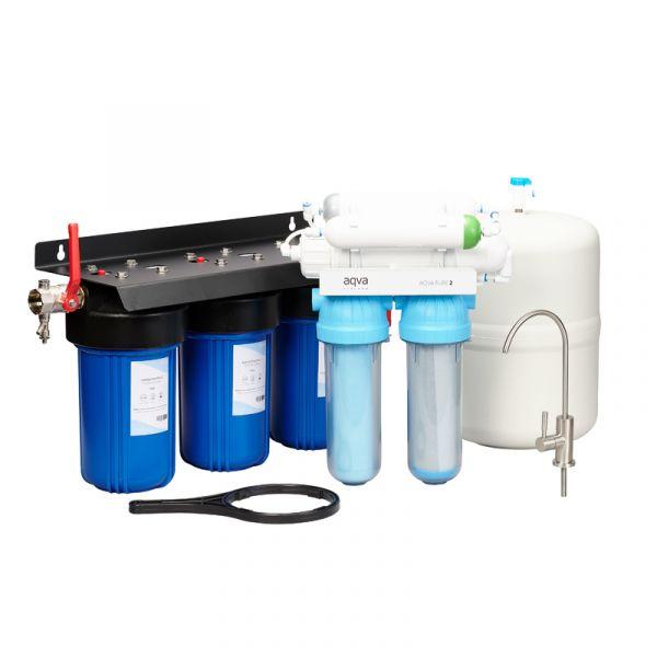 Käänteisosmoosilaite AQVA PURE 2+ -paketti juoma- ja käyttövedelle järvestä tai kaivosta