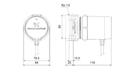 Grundfos UP 15-14B PM Comfort käyttövesipumppu