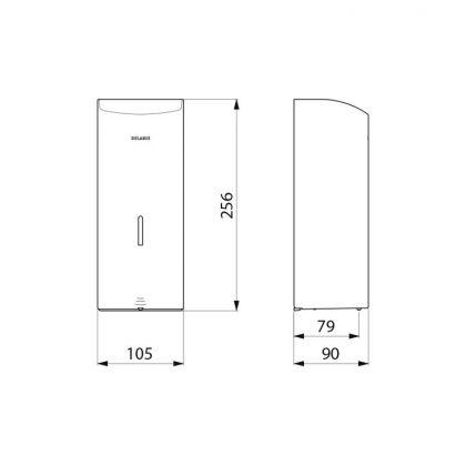 Käsidesi- ja saippuaannostelija kosketusvapaa Delabie 1 L, valkoinen RST