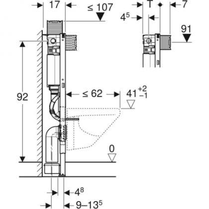 Asennusteline Geberit Duofix Omega 82cm, matala