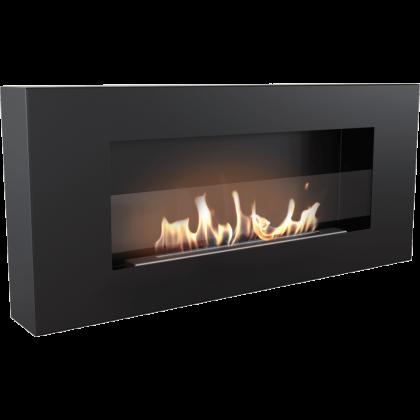 Biofireplace Kratki Delta Flat black with glass, wall mounted