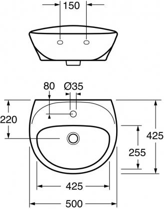 Pesuallas Gustavsberg Estetic 50cm musta