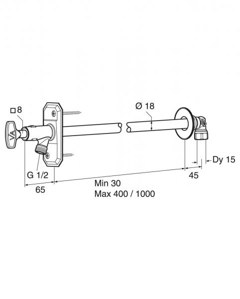 Vesipostiventtiili GBG itsetyhjentyvä irtoavaimella 30-400mm