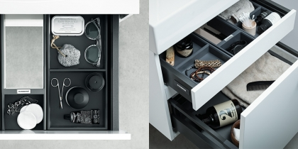 Svedbergs alaosa Forma 80x35 + Ellipse allas  2 laatikkoa, push open, musta tammi