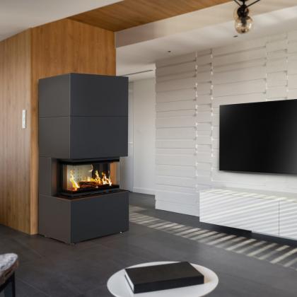 Modular fireplace HOME EASY BOX, NBC 7, steel casing, black