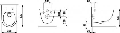 Laufen Pro Design seinä WC, ilman istuinkantta