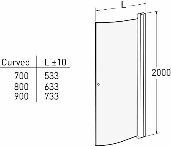Suihkuseinä Ido Showerama 10-41, kaareva kirkas 900mm