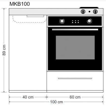 Minikeittiö MKB-100 uunilla ja keraamisella liedellä