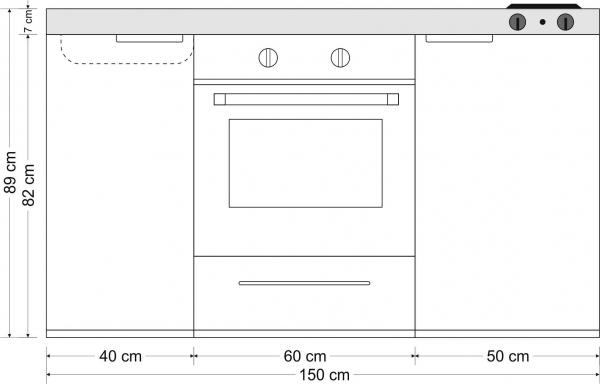 Minikeittiö MKB-150 uunilla ja keraamisella liedellä