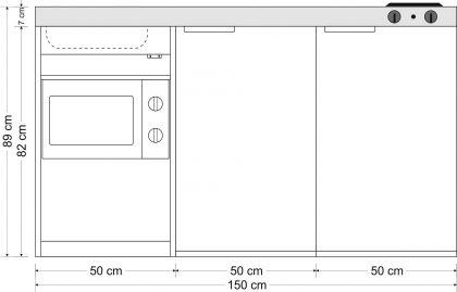 Minikeittiö MKM-150 mikroaaltouunilla ja sähköliedellä