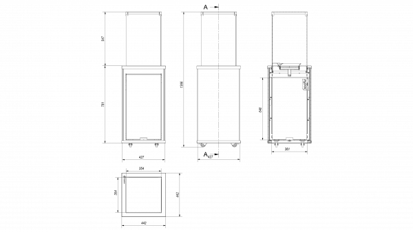 Terassilämmitin Kratki Patio Mini musta tikattu lasi kaukosäätimellä