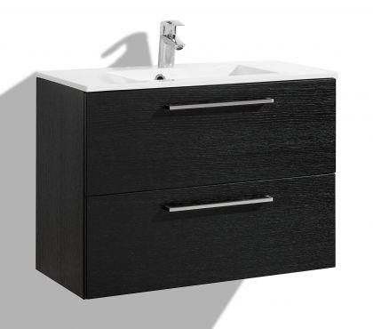 Allaskaappi altaalla 800 mm Stella Premium 2 laatikolla, musta viilu
