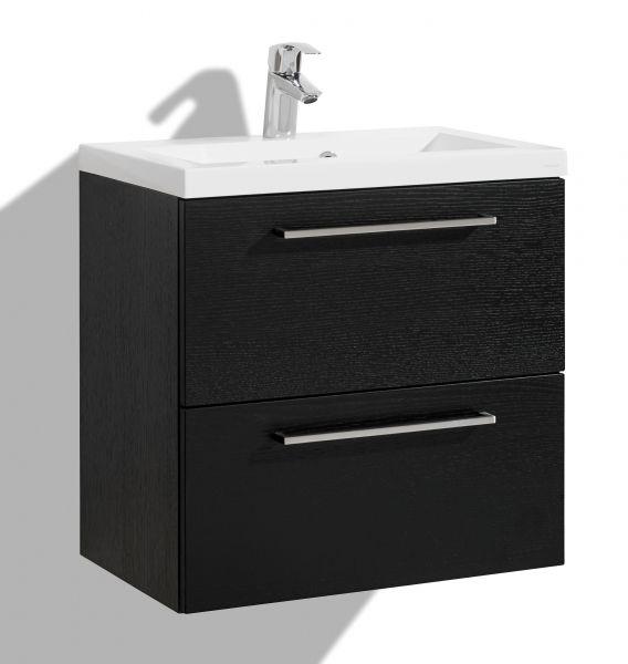 Allaskaappi altaalla 600 mm Stella Premium, kaksi laatikkoa, musta viilu