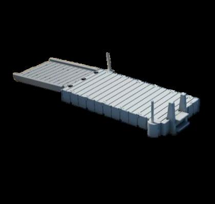 Uimalaituri Rotodock 4,9 x 1,5 metriä, sis kulkusillan ja uimaportaat, harmaa