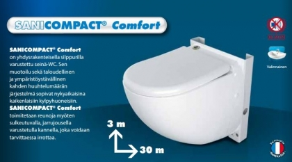 SANICOMPACT COMFORT SILENCE ECO+, SILPPURI SEINÄ-WC, PESUALLASLIITÄNTÄ
