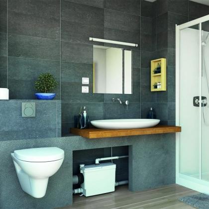 Sanipack Silence, WC-silppuripumppu, pesuallas/suihku, sisäänrakennettava