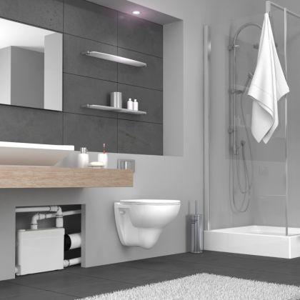 Sanipack, seinä wc-silppuripumppu, pesuallas/suihku, sisäänrakennettava