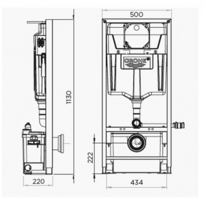 SANIWALL PRO UP frame for wall hung Wc with macerating pump
