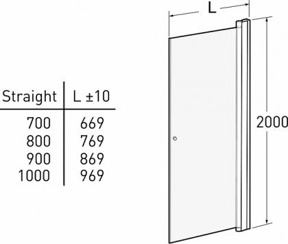 Suihkuseinä Ido Showerama 10-01, suora kirkas 800mm