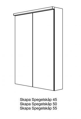 Peilikaappi Svedbergs Skapa 55 LED-valolla, valkoinen