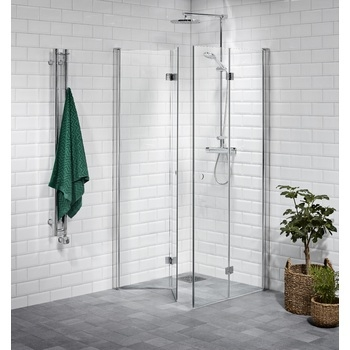 Shower corner hinged, clear 80 x 80
