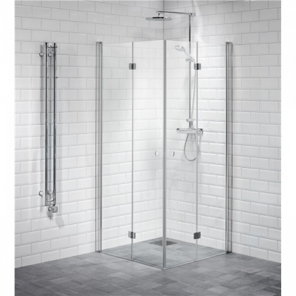 Shower corner hinged, clear 90 x 90