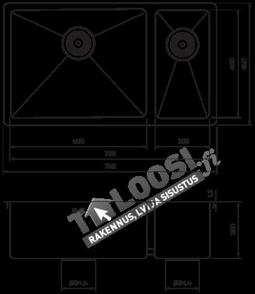 Tiskiallas Tapwell TA7040 700x400mm ruostumaton teräs