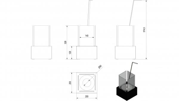 Biotakka Tango 1-pieni Valkoinen pöydälle