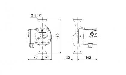 Käyttövesipumppu GRUNDFOS UPS 25-60N 180 MM