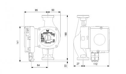 Lämpöjohtopumppu Grundfos UPS2 32-80 180 mm