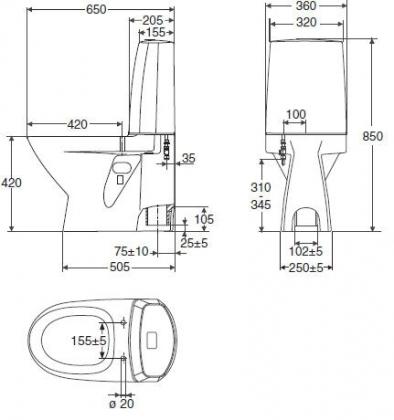 WC-istuin Ido Seven D 10, s-lukko, kaksoishuuhtelu